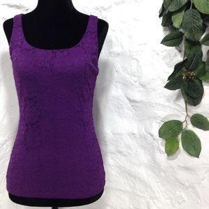 WHBM lace purple stretch tank size XS